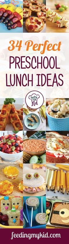 34 Perfect Preschool Lunch Ideas - Take a look at our list of the most perfect preschool lunch ideas! You'll free up some time in the morning by knowing what to pack for lunch, and you'll be happy knowing they're more likely going to eat these preschooler-approved options. From Minion shaped sandwiches and healthy homemade spaghetti-os to cheesy tuna bites and more! Your preschooler will bring home an empty lunchbox and a full belly every time! This is a must pin!