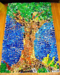 paw prints: Styrofoam Mosaic: Peanut Tree