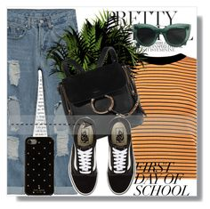 """""""First day of school !!"""" by dianagrigoryan ❤ liked on Polyvore featuring Boohoo, Chloé, Vans, Kate Spade and BackToSchool"""