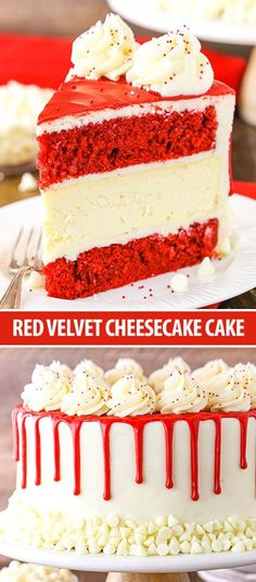 Red This Red Velvet Cheesecake Cake is made with layers of wet red velvet cake and thick and creamy cheesecake! If you've ever had the cheesecake by the same call at The Cheesecake Factory and cherished it Red Velvet Cheesecake Cake Recipe The Cheesecake Factory, Cupcake Recipes, Cupcake Cakes, Dessert Recipes, Delicious Desserts, Muffin Cupcake, Gourmet Cupcakes, Frosting Recipes, Food Cakes