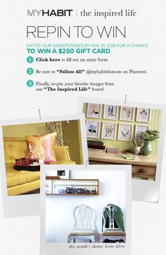 Repin to win! Click the pic to get started.