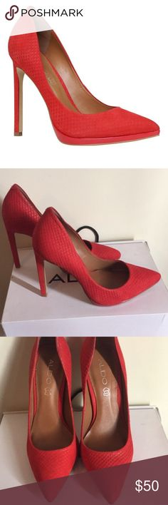 Red shoes Aldo red pump leather sulky soft goes great with dresses jeans or skirts! Almost new worn 2 times comfy and elegant Aldo shoes sold out I'm putting Zara for exposure Aldo Shoes Heels