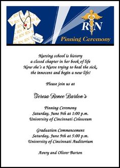 voted most popular nurse caduceus pinning ceremony invitation cards and school nursing announcements for graduation commencement at InvitationsByU, number 7619IBU-NR, with lots of discounts and promos