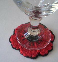 Free Pattern - Crocheted Poppy Flower Coasters
