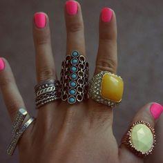 Rings rings and more rings! Plus cute neon polish <3