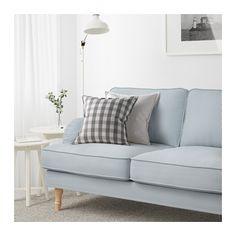STOCKSUND 3 1/2 seat sofa - Remvallen blue/white, light brown - IKEA
