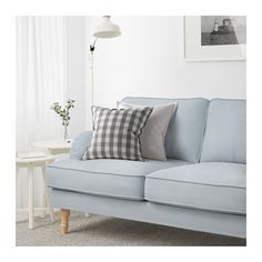 STOCKSUND Sofa, Remvallen blue/white, light brown/wood Remvallen blue/white light brown