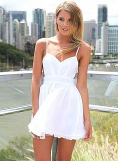 White Mini Dress - White Mini Dress with Tie