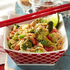 Glass Noodle Salad with Peanut Sauce (rice noodles, edamame, broccoli, red pepper, shallot, peanut butter, soy sauce, rice vinegar, honey, ginger, red pepper flakes, salted peanuts