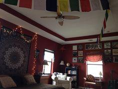 My Boho Hippy Bedroom: records, globe, books, prayer flags, the Beatles...