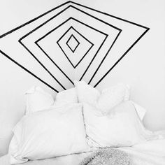Washi tape geometric headboard design #bedroom #interiordesign #nyc #brooklyn…