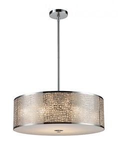 Five Light Steel Drum Shade Pendant | Pego Lamps