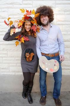 While this couple costume may look complicated, it's surprisingly simple and is super cheap to make — and very on trend since The Joy of Painting is now on Netflix. Bonus: If you have a little critter of your own, you can dress him or her up as Bob's squirrel Peapod. See more on Creating Really Awesome Free Things » What you'll need: craft leaves ($8; amazon.com), curly brown wig ($8, amazon.com)
