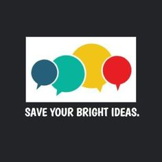 A creative template for a marketing logo. A dark background with white textbox displaying colourful speech bubbles and white text displaying 'save your bright ideas'. Marketing Logo, Bright Ideas, Dark Backgrounds, Save Yourself, Logo Templates, Bubbles, Logos, Business, Creative