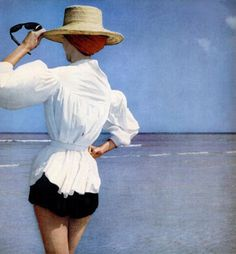 Rinso detergent, 1953. 1950s fashion. Glamour on the beach | More here: http://mylusciouslife.com/photo-galleries/beach-pool-and-outdoor-living/