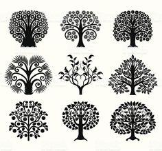 Набор украшения деревьев Сток Вектор Стоковая фотография