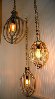 Kitchen- Unique Lighting Idea for the kitchen or eating space-Old kitchen wisks repurposed into hanging light by using a light kit from a home improvement ... & Awesome... | boho home style | Pinterest | Thrift Store and Lights azcodes.com