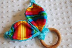 Old Wooden Toys Organic Wood Crinkle Bunny Ear teether in Rainbow by LePetiteBirdie, $11.00