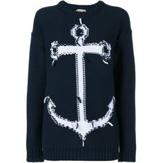 Nº21 Anchor Jumper ($381) ❤ liked on Polyvore featuring tops, sweaters, blue, jumpers sweaters, boho style tops, jumper top, bohemian sweater and nautical top
