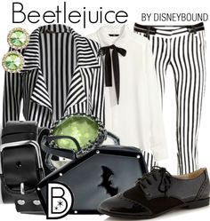beetlejuice, or Jack Skellington. Wouldn't wear stripes top & bottom unless i WAS going for a costume effect. Disney Inspired Fashion, Character Inspired Outfits, Disney Fashion, Nerd Fashion, Fandom Fashion, Casual Cosplay, Cosplay Outfits, Cosplay Ideas, Beetlejuice Wedding