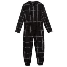 Elsy - Girls Houndstooth Jumpsuit | Childrensalon Girls Playsuit, Guess Girl, Jumpsuits For Girls, Leg Cuffs, White Jumpsuit, Tailored Trousers, Playsuits, Kids Fashion, Fall Fashion