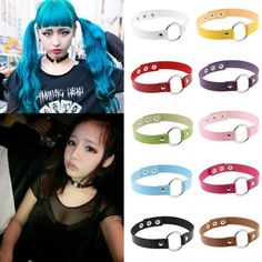 Womens Punk Goth Leather Rivet Circle Ring Collar Choker Funky Necklace Jewelry…