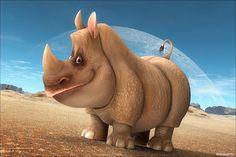 Банк Обоев: обои Добродушный смешной носорог, фото - Обои для рабочего стола Добродушный смешной носорог фото - Раздел обоев: (рисованные)