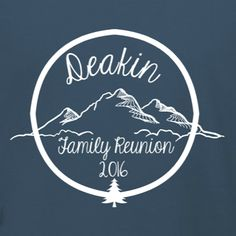 Mountain Themed Family Reunion t-shirt template. Make custom t-shirts for the whole family this family reunion season. Your mountain retreat themed family reunion will be unforgettable with this great souvenir. Edit to add your family name in our design studio. Change colors and t-shirt products. Choose your sizes and quantity in checkout!