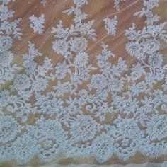 """66001 Ivory french corded Bridal Lace fabric  60"""" wide Scalloped borders"""