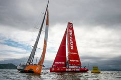 Start of Leg 6 from Itajaí to Newport. Team Alvimedica & MAPFRE in a close encounter. The very light winds made for a tight start! Photo by Buda Mendes / Volvo Ocean Race