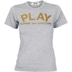 Comme Des Garcons PLAY Ladies Gold Foil Play Logo T-Shirt Grey  