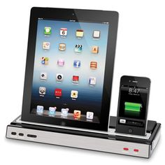 iphone and ipad charging speaker dock! need this!