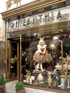 Window decorations and exterior in flowershop on the main shopping street in Budapest, Hungary