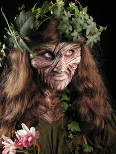 """This FX makeup is so detailed that it actually looks like the woman is a tree. I love how knotty the """"wood"""" on her face looks. It is so organic. Prosthetic Makeup, Sfx Makeup, Costume Makeup, Makeup Art, Forest Creatures, Mythical Creatures, Fantasy Creatures, Maquillage Halloween, Halloween Makeup"""