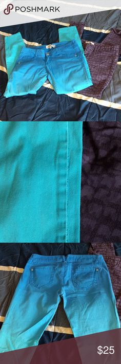 " 2 Pairs of Stretchy Skinnies  Rich and skinny purple giraffe / snake print, size 28,30"" inseam. GUC. Jolt blue and aqua ombre, size 3. 30"" inseam. GUC. Jolt Jeans Skinny"