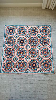 Persian Tiles crochet blanket,  pink version.