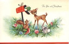 Vintage Christmas Card Deer Chipmunk Bunny Birds Letters Ornaments