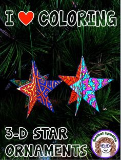 Got Kids Who Love to Color? Make this Star Ornament! (Minds in Bloom) Christmas Projects, Kids Christmas, Holiday Crafts, Christmas Ornaments, Christmas Templates, Christmas Door, Holiday Ideas, Christmas Writing Prompts, 3d Star