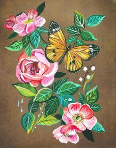 Aphrodite by Katie Daisy Aphrodite, Botanical Illustration, Illustration Art, Daisy Art, Acrylic Artwork, Guache, Floral Wall Art, Watercolor Artists, Art Pictures