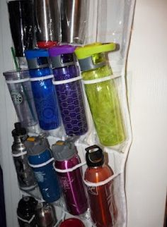 If you have a lot of mugs, plastic cups, or baby bottles, store them in a hanging shoe holder