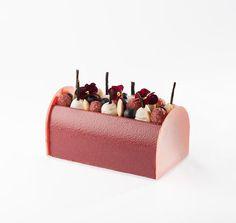 La Bûche Cassiflore [Pain de Gênes aux amandes, pulpe de baies de cassis,  crémeux au pamplemousse rose et agrumes, mousse au cassis.] | Pâtisserie Pain de Sucre
