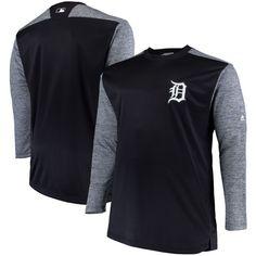 Detroit Tigers Majestic Big & Tall On-Field Tech Fleece Sweatshirt - Navy/Gray