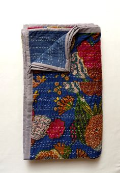 Blue Kantha Quilt // Twin Bedding // Blue Throw by LiveLoveSmile, €60.00
