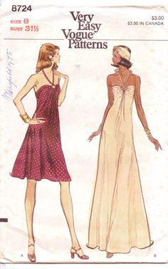 70s Very Easy Vogue Pattern 8724 Womens Evening by CloesCloset, $10.00