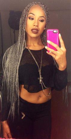 Gray Box Braids Gray box braids my amazing Afro Braids, Twist Braids, Twists, Grey Box Braids, Curly Hair Styles, Natural Hair Styles, Colored Braids, Pelo Afro, Box Braids Styling