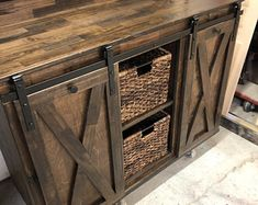 Buffet with wine rack and storage for wine cooler The Middle, Buffet With Wine Rack, Espresso, Armoire Bar, Mini Chalkboards, Cabinet Dimensions, Home Coffee Stations, Iron Shelf, Wine Glass Rack