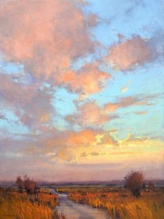 Artist: Kim Casebeer; Title: Dusk on Skyline Road; Medium: Oil. I think this road is in Kansas, USA.