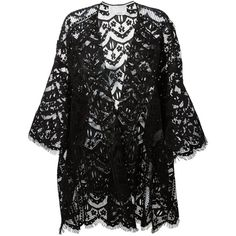 Chloé Lace Cardigan (5 675 AUD) ❤ liked on Polyvore featuring tops, cardigans, outerwear, jackets, kimonos, black, sheer kimono cardigan, lace top, kimono cardigan and sheer cardigan