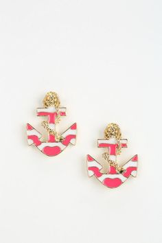 pink and gold anchor earrings