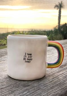 Fun Coffee Mugs l Cute Critter Mugs l Natural Life Natural Life I'l. Fun Coffee Mugs l Cute Critter Mugs l Natural Life Natural Life I'll Just Be Happy Rainbow Mug - Natural Li. Just Be Happy, Happy Today, Ceramic Pottery, Ceramic Art, Ceramic Spoons, Coffee Cups, Tea Cups, Coffee Coffee, Cerámica Ideas